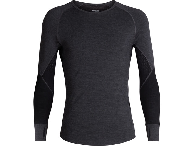 Icebreaker 260 Zone LS Crewe Shirt Herre jet heather/black